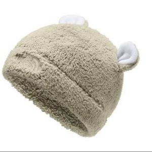 North Face Infant Baby Faroe Beanie Knit Hat Pom Pom XXS 0-6 Months Pink NEW